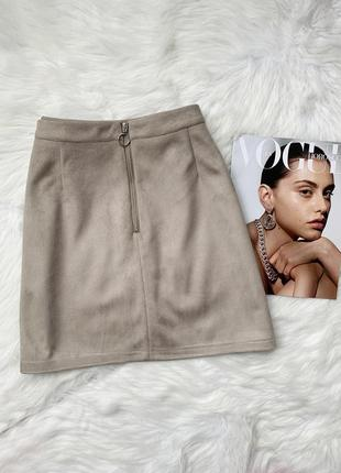 Замшевая юбка primark брендовая на молнии мини трапеция