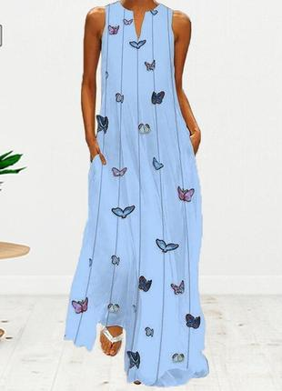 Женское платье макси с принтом бабочек,