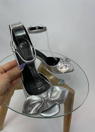 Шкіряні туфлі босоніжки бант  кожаные туфли босоножки