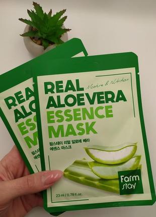 🍃тканевая маска с экстрактом алое farmstay real aloe vera  mask (1шт.)
