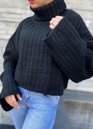 Черный оверсайз свитер из шерсти2 фото