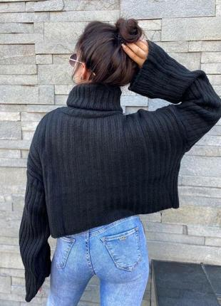 Черный оверсайз свитер из шерсти3 фото