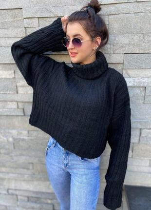 Черный оверсайз свитер из шерсти4 фото