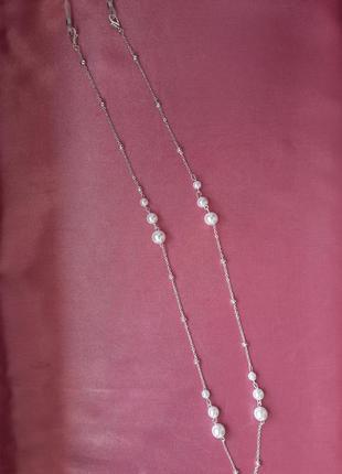 Срібний ланцюжок для окулярі з перлами3 фото
