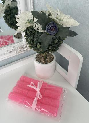 Бигуди на липучках фирменные 12 шт, цвет розовый новые