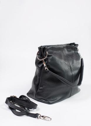 Вместительная сумка с двумя отделами и кармашками с ремешком из кожи2 фото