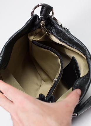 Вместительная сумка с двумя отделами и кармашками с ремешком из кожи4 фото