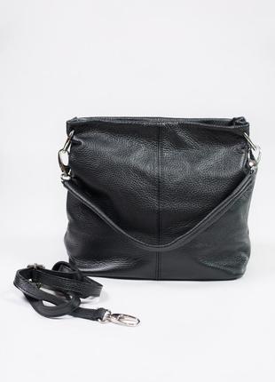 Вместительная сумка с двумя отделами и кармашками с ремешком из кожи5 фото