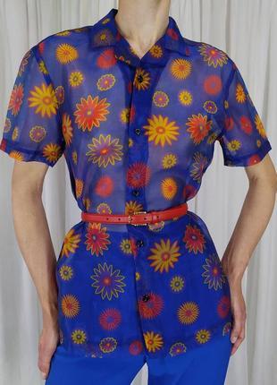 Блуза прозора в квітковий принт сорочка блуза прозрачная в цветы яркая