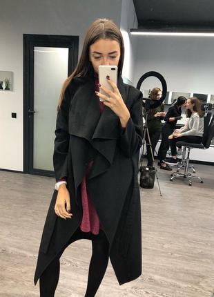 Черное кашемировое пальто на запах под пояс, пальто с поясом кашемир, пальто