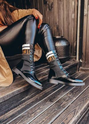 Распродажа шикарные высокие ботинки на шнуровке эко кожа  в стиле fеnдi