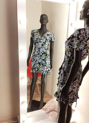 Цветочное платье на запах 💙1 фото