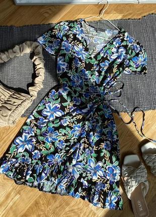 Цветочное платье на запах 💙4 фото