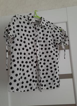 Рубашка блузка белая в горох