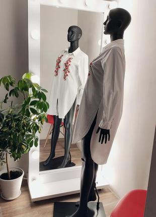 Удлинённая рубашка с вышивкой 🤍🌹4 фото