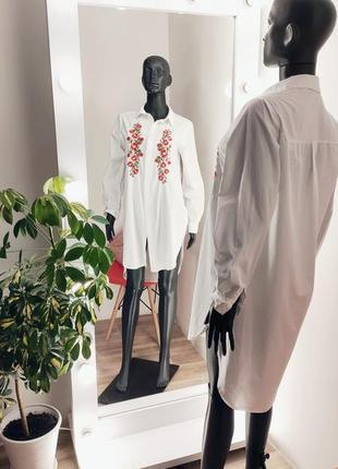 Удлинённая рубашка с вышивкой 🤍🌹1 фото