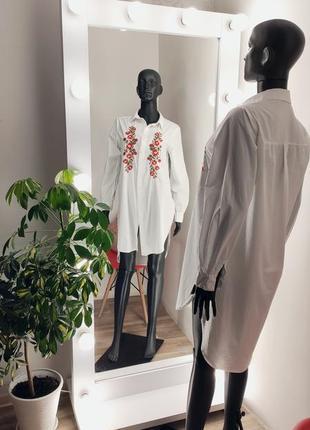 Удлинённая рубашка с вышивкой 🤍🌹2 фото
