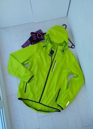 Яркая неоновая ветровка куртка дождевик спортивная для туризма вело походов унисекс мужская женская