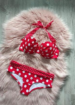 Раздельный купальник бикини красный в горошек uk 36d eur 80d uk 10 la senza