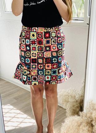 Джинсовая юбка в принт, джинсовая юбка мультиколор moschino 1+1=3