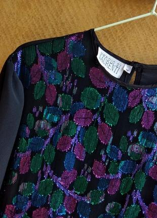 🌿вінтажна чорна блуза з блискучим акцентом, винтажная блестящая блуза топ sergio di laurenti