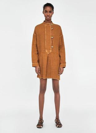 Эффектная льняная рубаха оверсайз, туника из добротного льна, мини платье цвета корицы