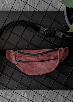 Мини маленькая вишневая бананка барсетка сумка эко-сумочка городская