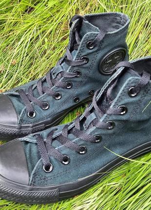 Тёмно-зелёные конверсы6 фото