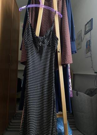 Сарафан на лето в горошек длинный сарафан женский платье длинное чёрное
