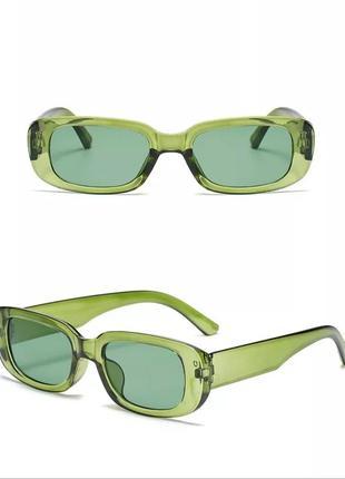 Крутые солнцезащитные очки зеленые узкие ретро прозрачные окуляри сонцезахисні зелені