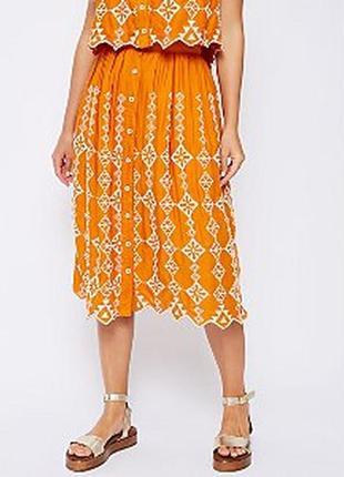 Новая о юбка-миди с вышивкой на пуговицах в стиле бохо большого размера george 1+1=3