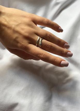 Кольцо змейка регулируемое под серебро