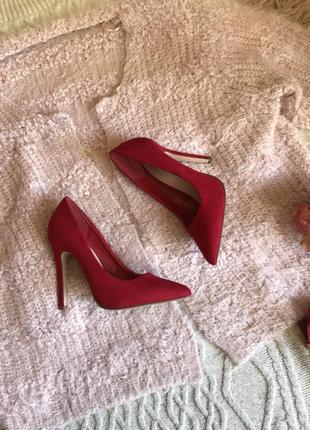 Замшевые туфли лодочки(35р)21,5см