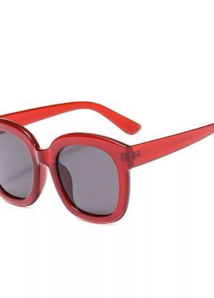 Тренд большие солнцезащитные очки красные бордовые ретро окуляри сонцезахисні2 фото