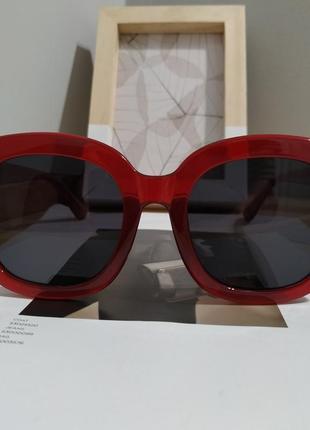 Тренд большие солнцезащитные очки красные бордовые ретро окуляри сонцезахисні4 фото