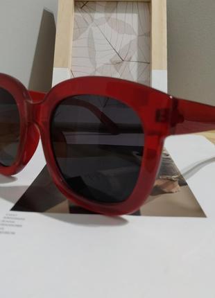 Тренд большие солнцезащитные очки красные бордовые ретро окуляри сонцезахисні6 фото