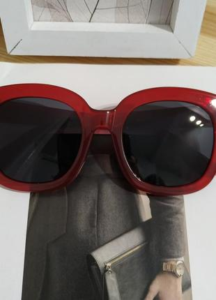 Тренд большие солнцезащитные очки красные бордовые ретро окуляри сонцезахисні8 фото
