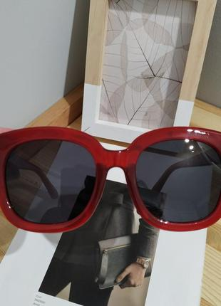 Тренд большие солнцезащитные очки красные бордовые ретро окуляри сонцезахисні5 фото