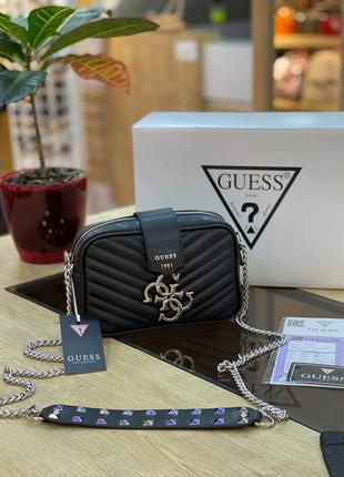 Шикарная женская сумка guess mini black черная