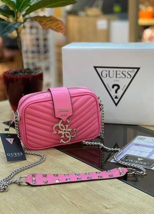 Шикарная женская сумка guess mini pink розовая