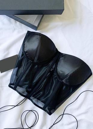 Чёрный прозрачный корсет с атласными чашками