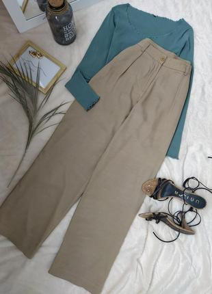 Актуальные бежевые широкие брюки из вискозы iris & ink