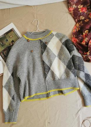 Винтажный шерстяной свитер h&m studio