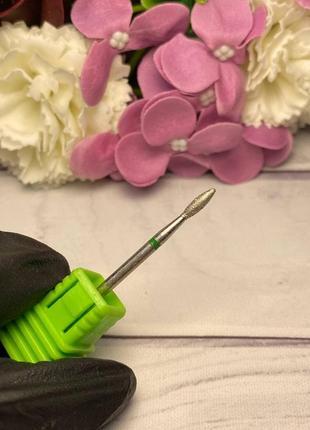 Фреза алмазная почка зеленая (диаметр 2,5 мм, рабочая часть 7 мм)