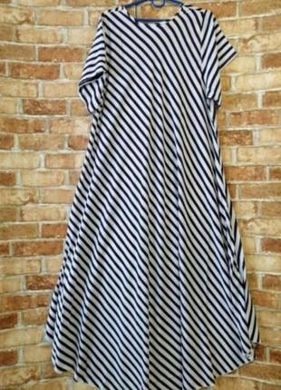 Длинное платье в горошек и полоску6 фото