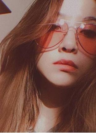 Розовые очки авиаторы на широкое лицо1 фото