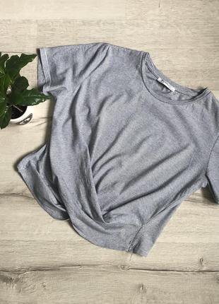 Женская короткая футболка топ в полоску zara
