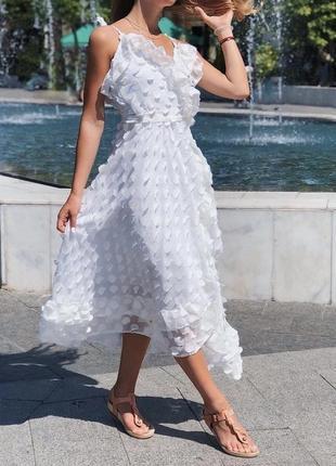 Шикарное шифоновое платье миди