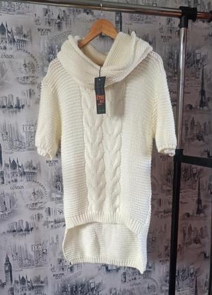Туника с хамутом,туника с шерстью, lana, шерсть,   вязаная туника, хамут, теплое вязаная туника платье