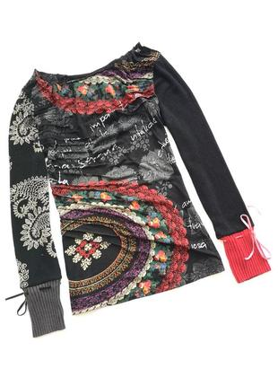 Яркий свитер кофта лонглив с принтом desigual